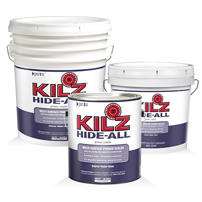 Kilz PaintA Large Brush Was Used To Apply Primer Along Edge Of The