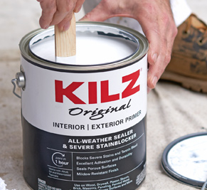 Paint bucket of Kilz Original Exterior primer that is white