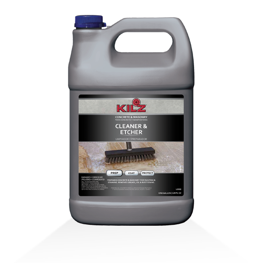 Kilz concrete masonry cleaner etcher primers for Spray on concrete cleaner
