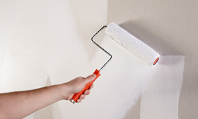 Person applying primer to a wall