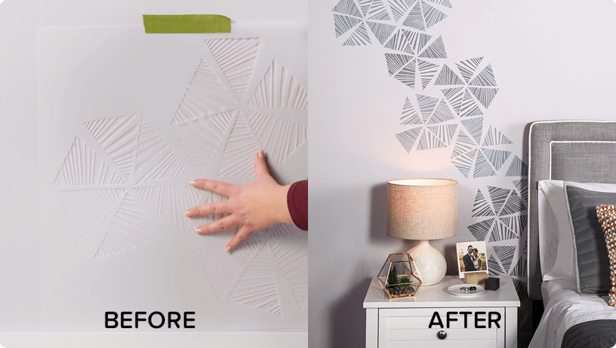 Before and After picture of a textured grey wall with black added to the texture of the wall