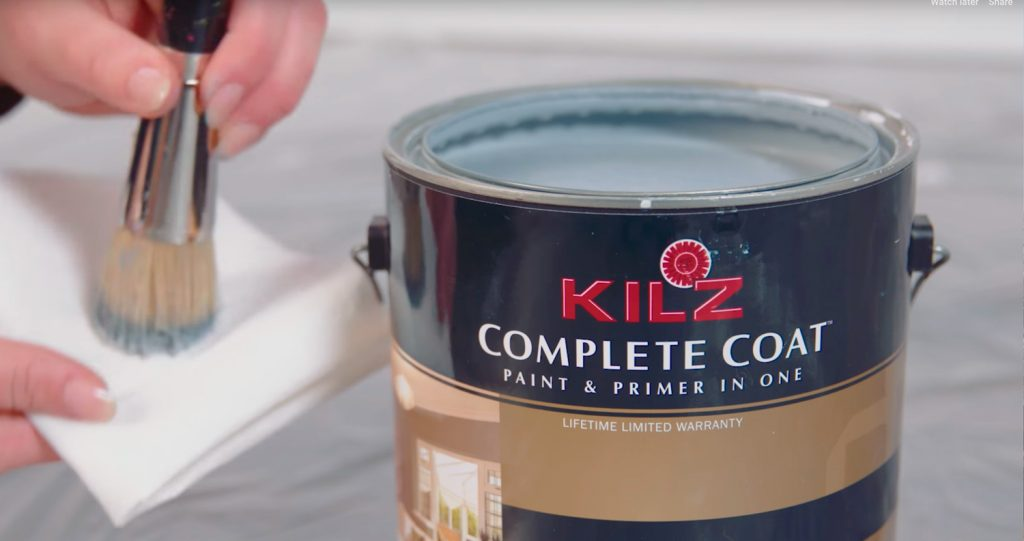 Close up image of a bucket of Kilz Complete Coat Paint and Primer in One