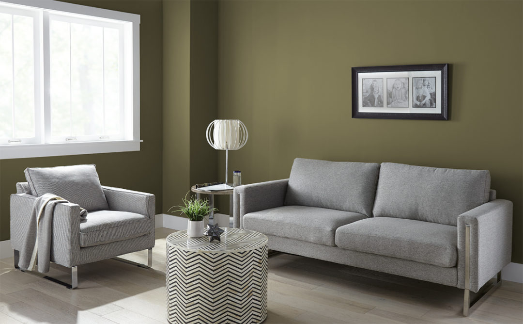 Living room with green walls and grey furniture
