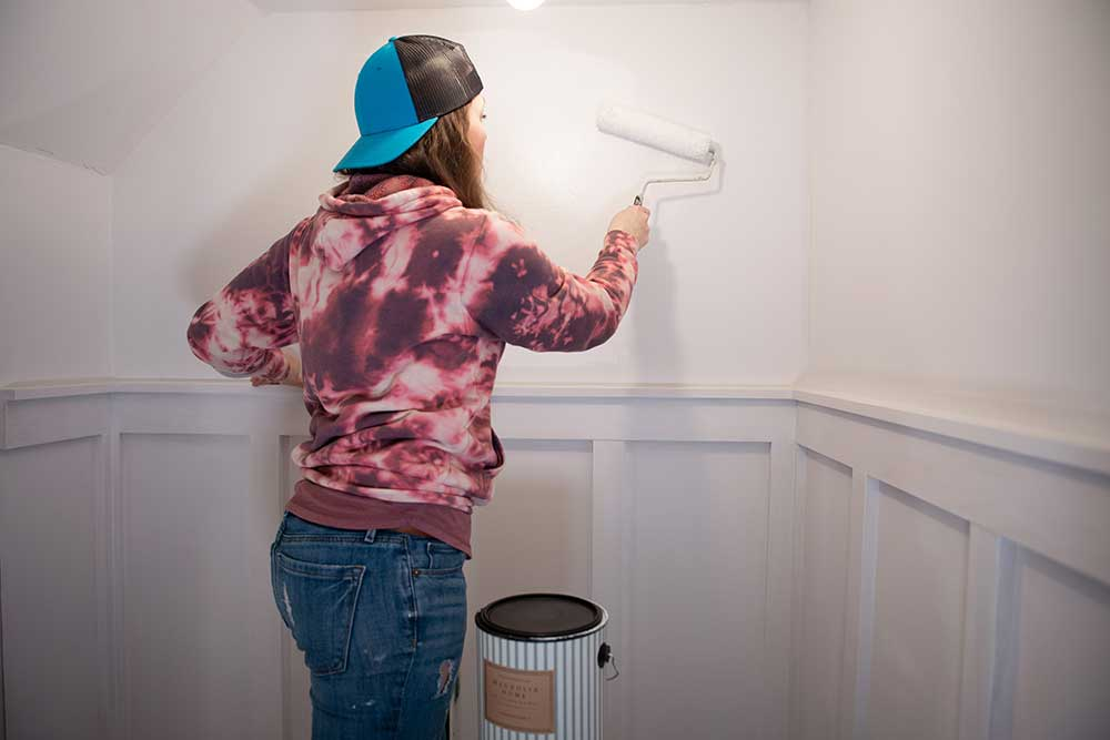 Rolling Primer on Mudroom Wall