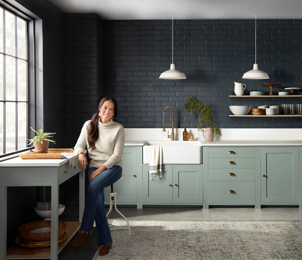 Full Kitchen Shot with Joanna Gaines Featuring Magnolia Home Bold Kitchen Colors Coffee Nook and Clean Slate