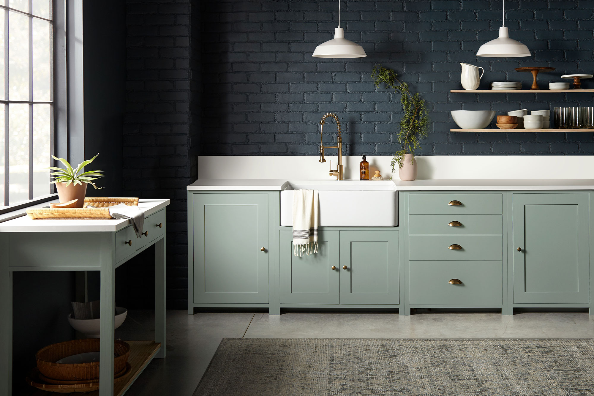 Full Kitchen Shot Featuring Magnolia Home Bold Kitchen Colors Coffee Nook and Clean Slate