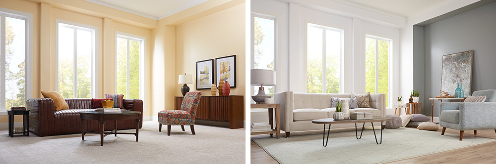 Living Room Makeover with Meditation in Mind Before and After